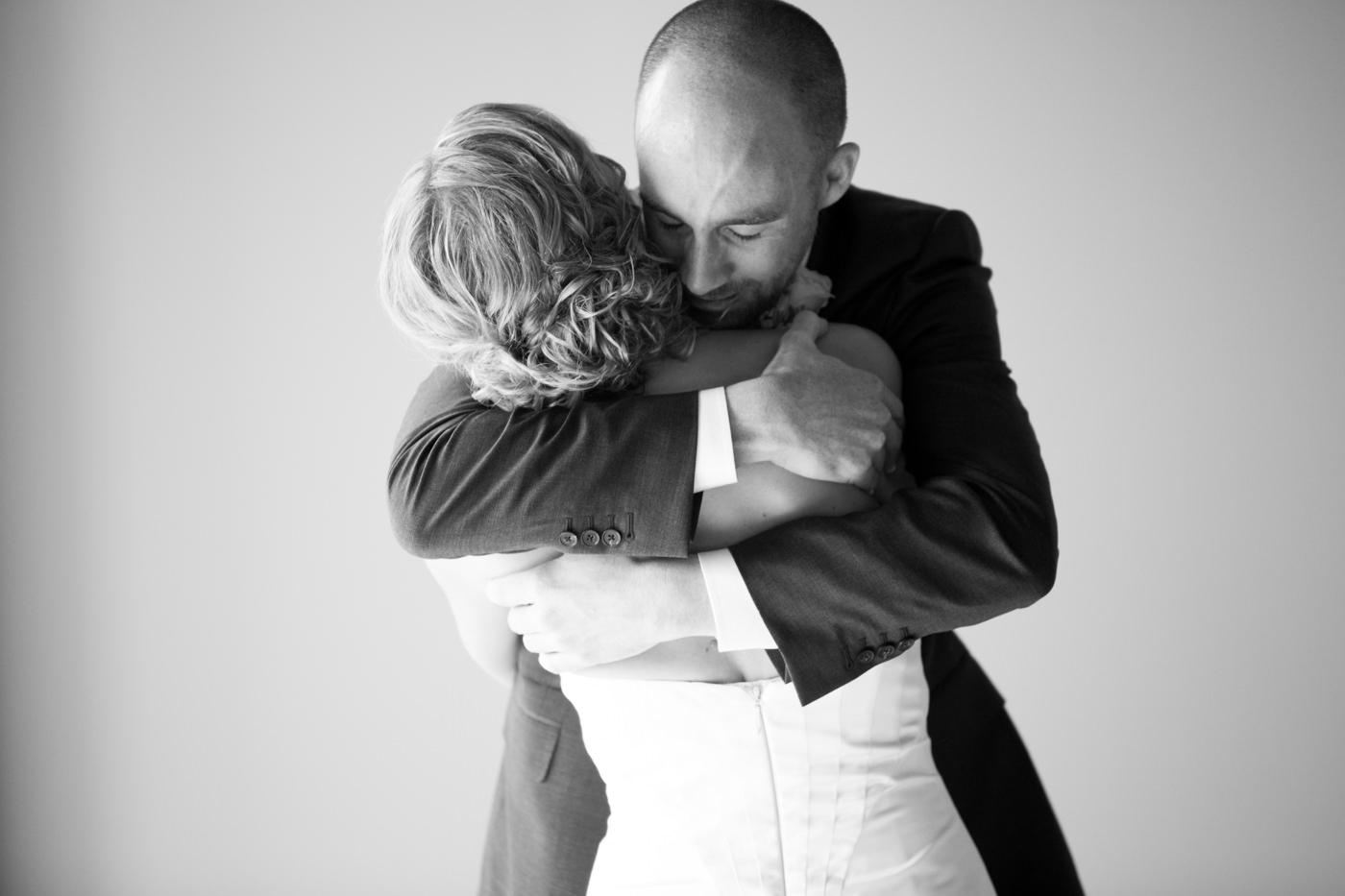 Emotional wedding photo Calgary black white