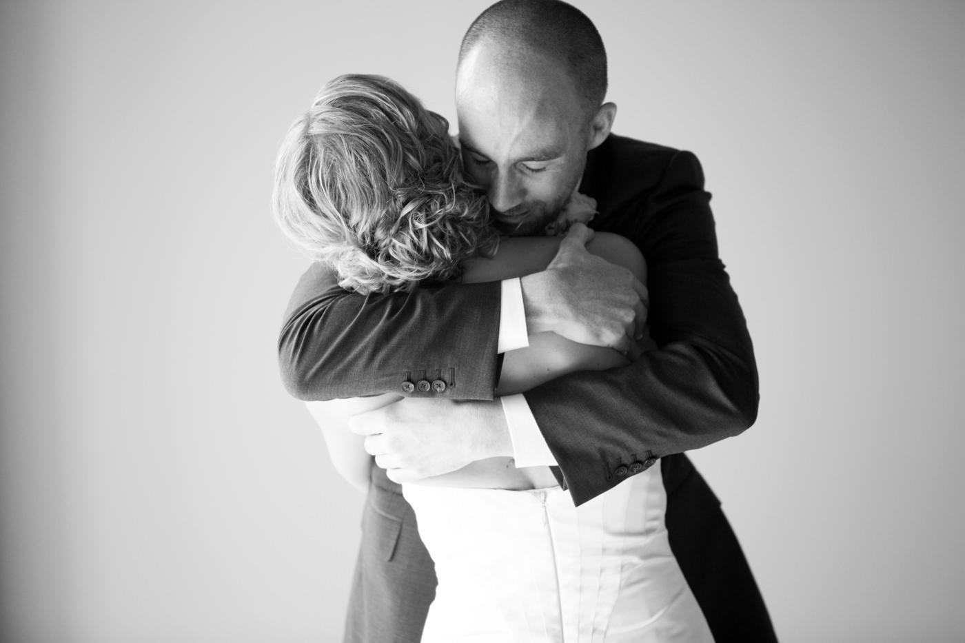 Emotional wedding photo Calgary black white