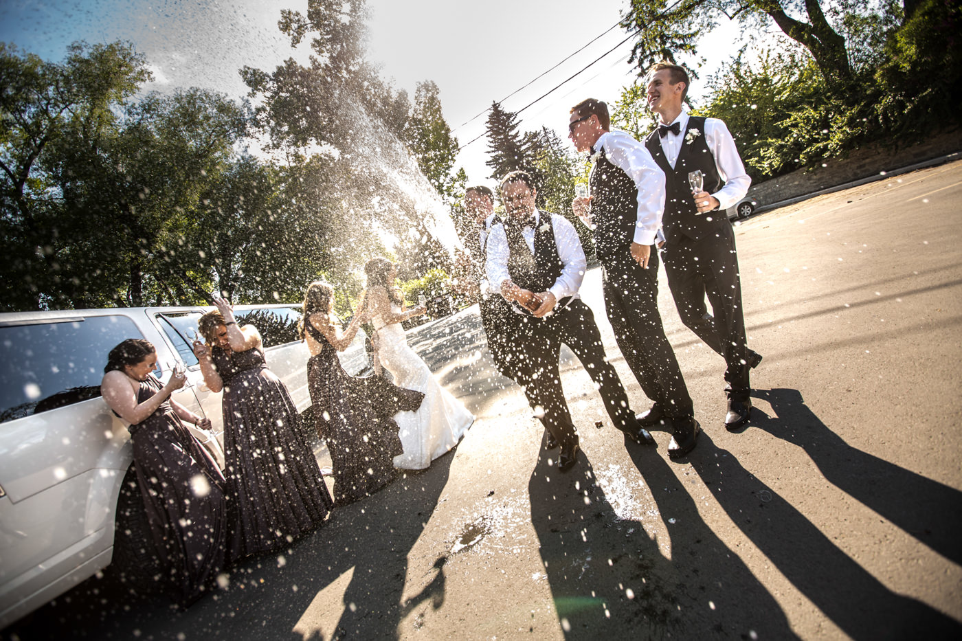 Wedding photography in Calgary Champagne Spray